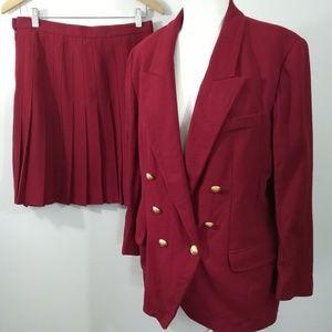 Vintage 80s 90s Skirt Suit Size 12P Woven Buttons